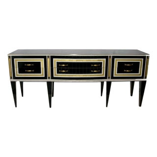1950s Italian Art Deco Style Black Glass With White and Bronze Insets Sideboard For Sale