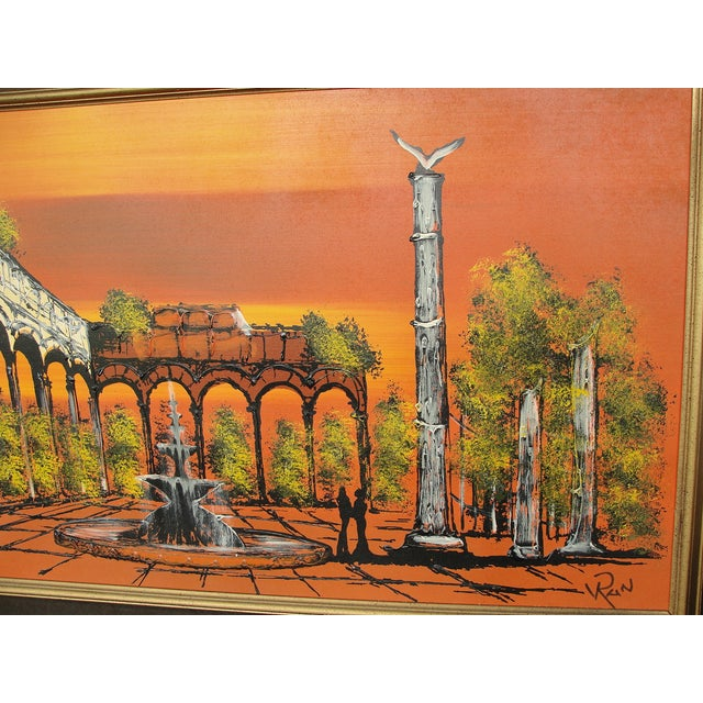 1950's Orange Ruins Painting by V Ran Raymor - Image 5 of 7