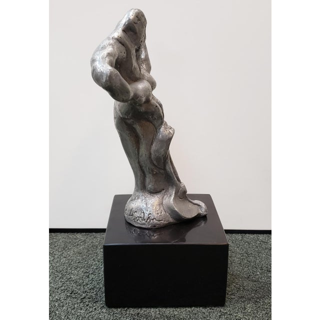 Brutalist Man Pushing Plow Pewter Sculpture on Granite Base (Illegibly Signed) (Limited Edition #4/25) (1976) For Sale - Image 4 of 7