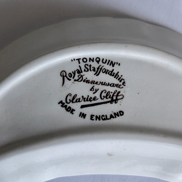 """1940s Royal Staffordshire Victorian Crescent Butter Plate in """"Tonquin"""" Brown Transferware For Sale - Image 5 of 6"""