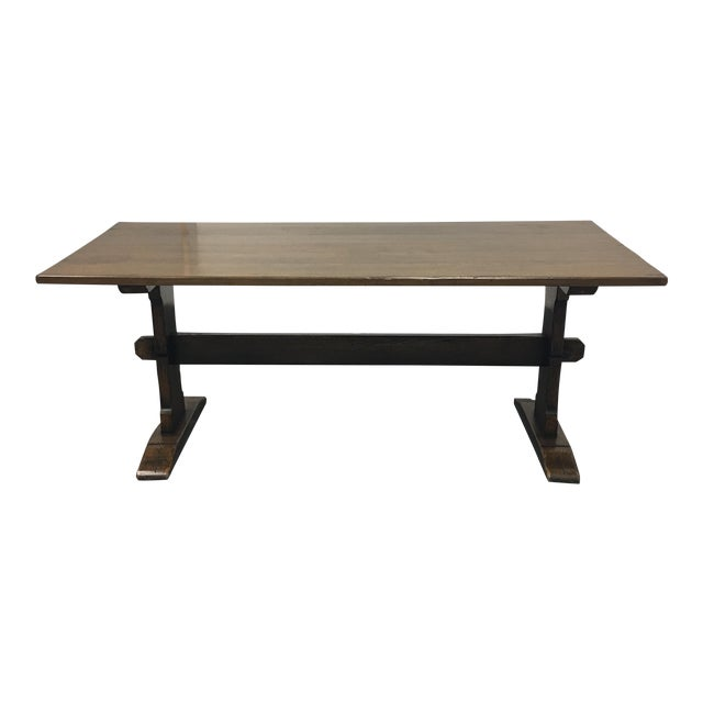 Solid Wood Trestle Dining Table - Image 1 of 9