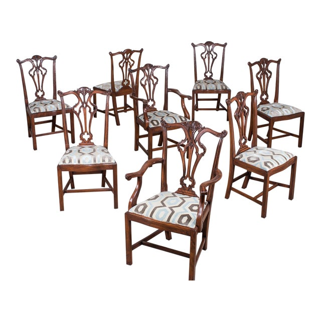 Set Eight George III Chippendale Style Mahogany Dining Chairs, Custom Stain Finish, England - Image 1 of 9
