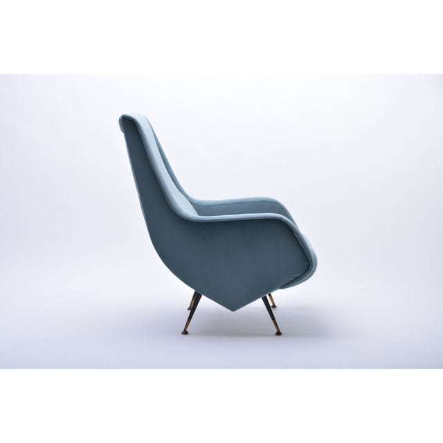 This chair in the style of Aldo Morbelli was produced in Italy in the 1950s. The chair has been restored and reupholstered...