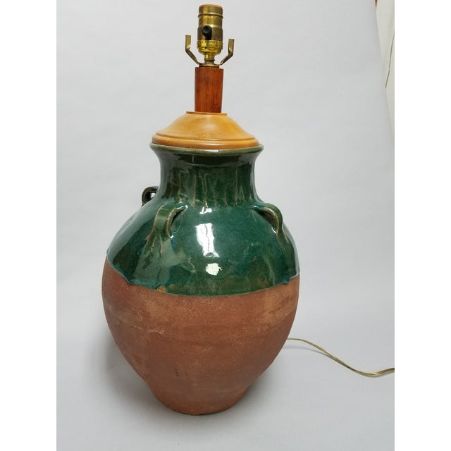 Mediterranean Terracotta & Green Olive Jar Lamp For Sale - Image 10 of 10