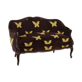 Meyer Gunther Martini French Louis XV Style Vintage Butterfly Upholstered Loveseat For Sale