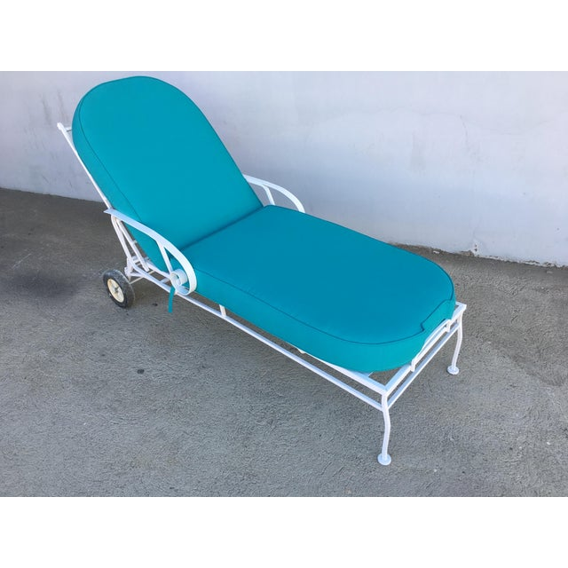 1960s Steel Scrolling Reclining Outdoor / Patio Chaise Lounge by Woodard For Sale - Image 5 of 11