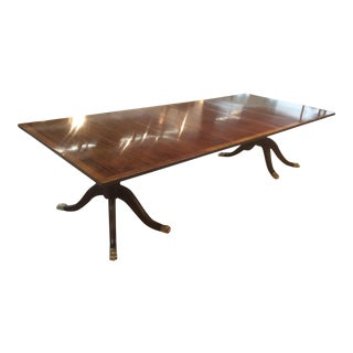 19th C English Mahogany and Satinwood Banded Dining Table For Sale