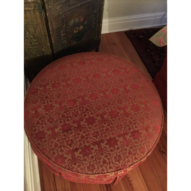"""Red and Gold 41"""" Round Ottoman - Image 5 of 5"""