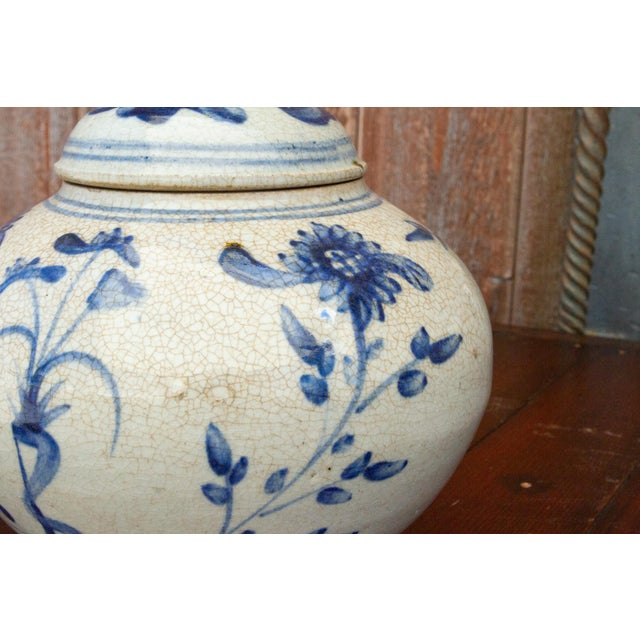 Fascinating Early 20th Century Blue and White Jar For Sale - Image 10 of 12