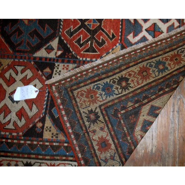 "Handmade Antique Caucasian Kazak Mohan Rug - 3'8"" X 8'2"" For Sale - Image 7 of 7"