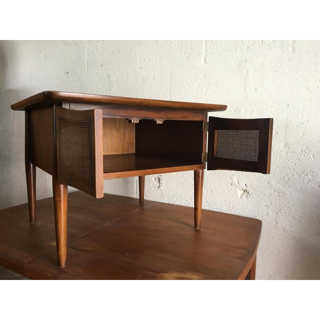 American of Martinsville Mid-Century Modern Side Table With Caned Doors . For Sale - Image 4 of 11