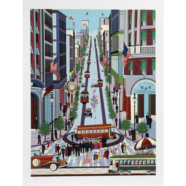 Nicky Watanabe Serigraph - Powell Street Cable Car For Sale