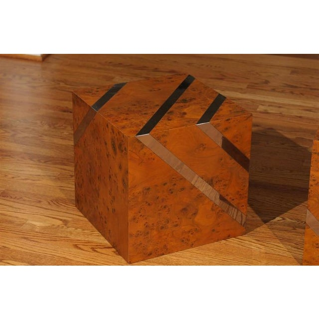 Restored Pair of Olivewood and Nickel Cubes For Sale In Atlanta - Image 6 of 11