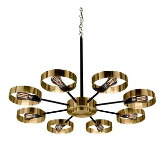 Brushed Brass With Black Satin Halo Chandelier For Sale