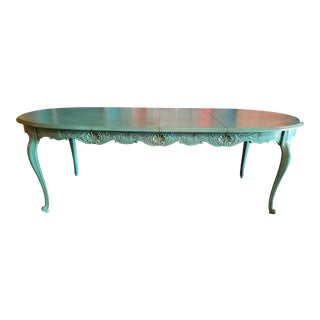 Vintage French Provincial Aqua Dining Table For Sale