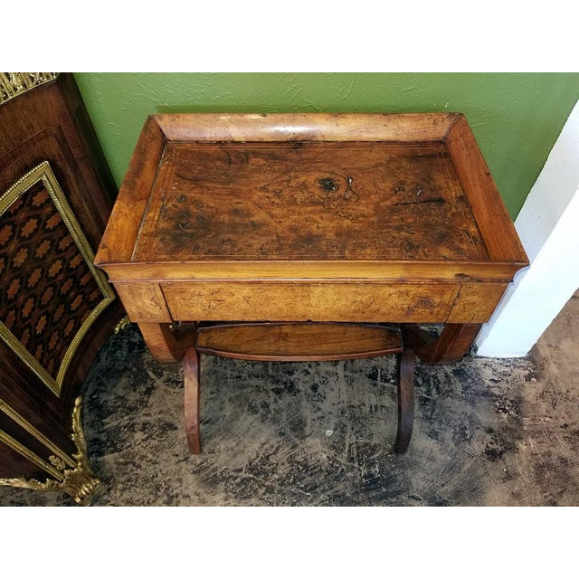 Brown 18c French Provincial Burl Walnut Lyre Work Table For Sale - Image 8 of 13