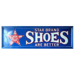 Star Brand Shoes Tin Lithograph Sign, Antique Shoe Sign, Red White and Blue For Sale
