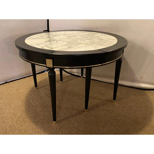 Hollywood Regency Jansen Style Ebony Center Dining Table Marble Top French For Sale - Image 10 of 12