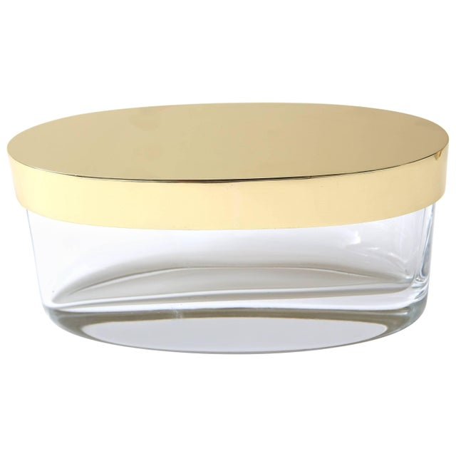 Gold Oval-Form Lidded Box in Crystal and Brass by Fontana Arte For Sale - Image 8 of 8