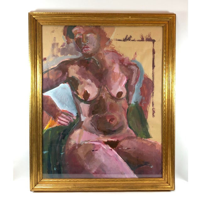 Magenta Gilt Framed Expressive Gouache on Paper - Magenta Nude Woman For Sale - Image 8 of 8