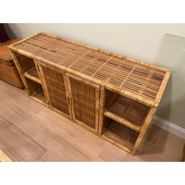 1970s Vintage Palm Beach Boho Chic Wicker Rattan Shelving Unit For Sale - Image 5 of 12