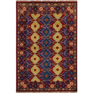 1990s Vintage Balouchi Christop Orange/Green Wool Rug - 5′ × 6′6″ For Sale