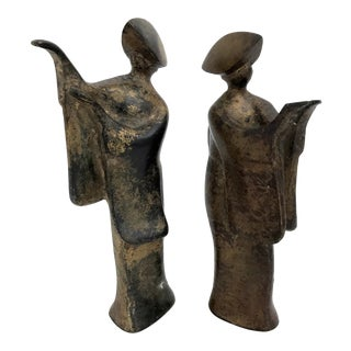 Japanese Bronze Figurines - a Pair