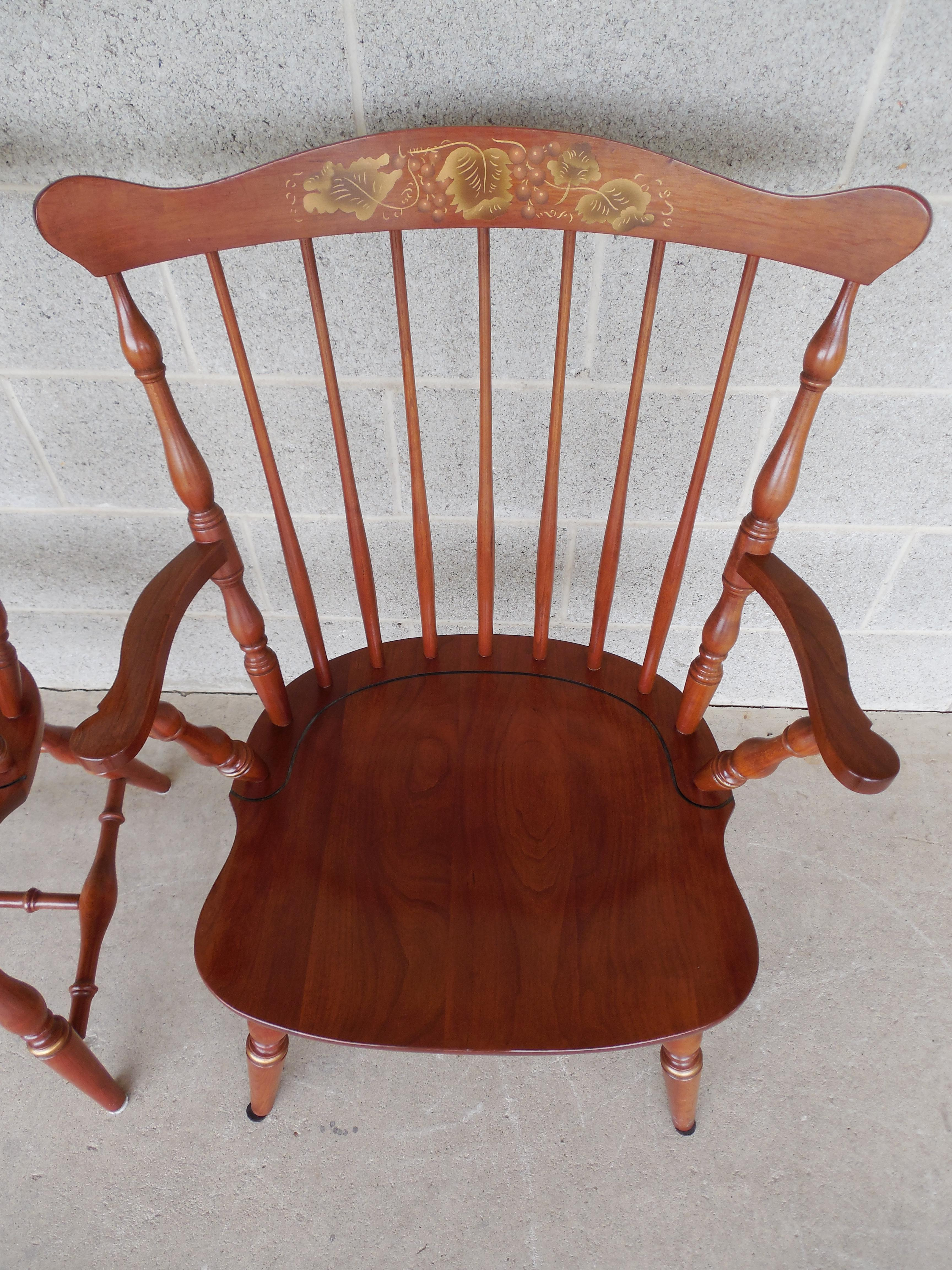 L. Hitchcock Fan Back Windsor Style Cherry Harvest Stenciled Pair Arm Chairs    Image 7