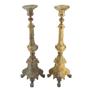 19th Century Italian Baroque Style Gilt-Bronze Altar Candlesticks - a Pair For Sale