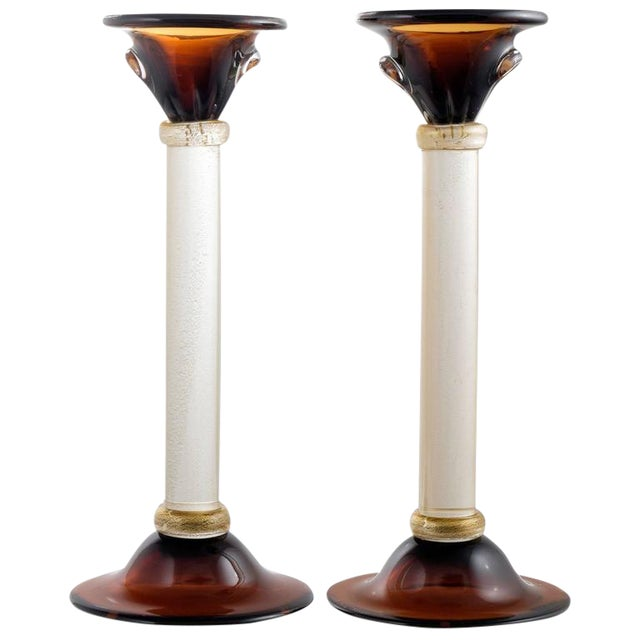Murano Amber & Avventurina Glass Candles Holders - A Pair For Sale