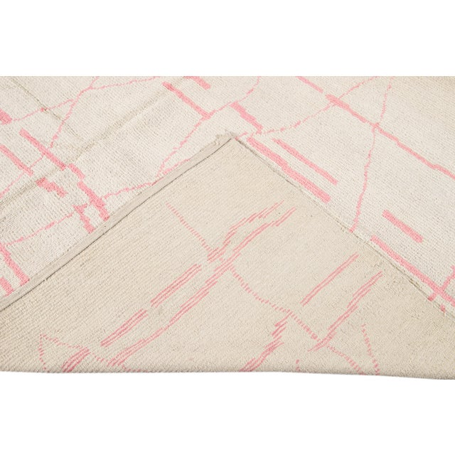 21st Century Modern Moroccan-Style Wool Rug For Sale - Image 4 of 13