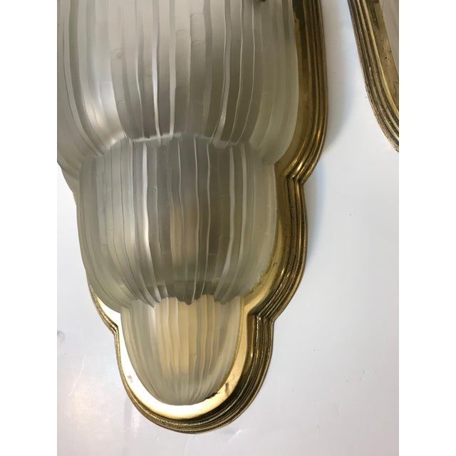 "French Art Deco ""Waterfall"" Sconces Signed by Sabino - Set of 4 For Sale - Image 9 of 13"