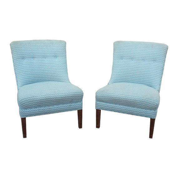 Wood Regency Armless Chairs-A Pair For Sale - Image 7 of 7