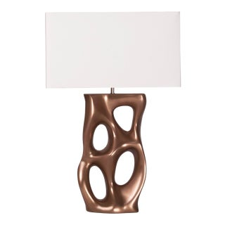 Loop Bronze Finish Table Lamp With Ivory Shade For Sale