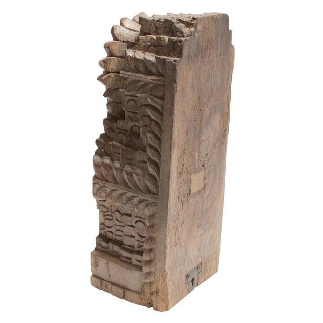 Boho Chic Antique Hand Carved Teak Bloomed Corbel For Sale - Image 3 of 4