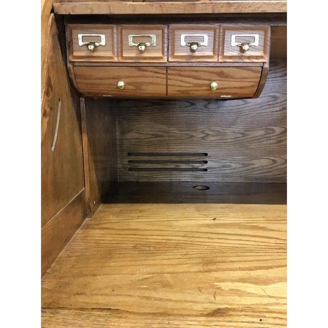 Large Solid Oak Roll Top Desk - Image 6 of 10