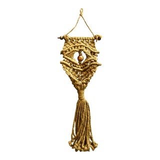 1970's Boho Chic Macrame Owl Plant Hanger For Sale