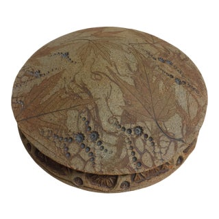 Late 20th Century Lidded Dish With Natural Leaf Motif For Sale