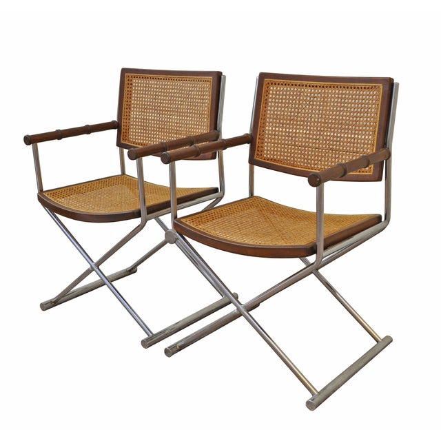 Chrome, Cane and Bamboo Directors Chairs - Pair - Image 2 of 3