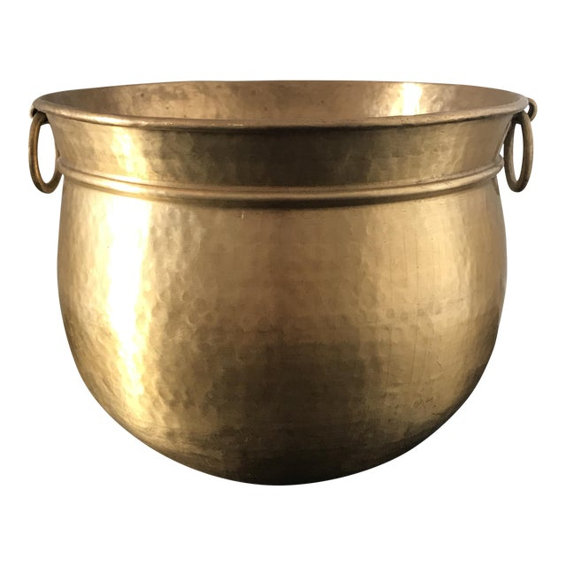 Vintage Solid Brass Planter For Sale