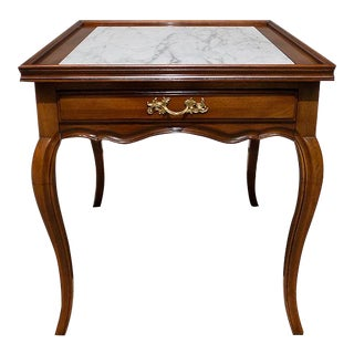 1970s Louis XV William A. Berkey / John Widdicomb French Provincial Marble Top End Table For Sale
