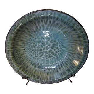 Oversized Decorative Plate on Wrought Iron Display Base