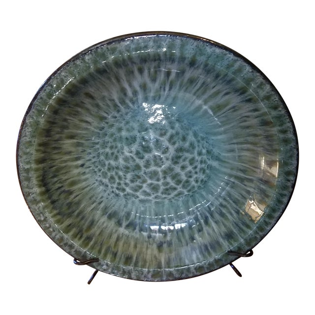 Oversized Decorative Plate on Wrought Iron Display Base - Image 1 of 4