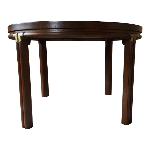 Vintage Drexel Heritage Accolade Campaign Style Card Table For Sale