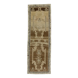 Vintage Turkish Oushak Carpet Runner with Modern Style, 3'4 x 10'2 For Sale