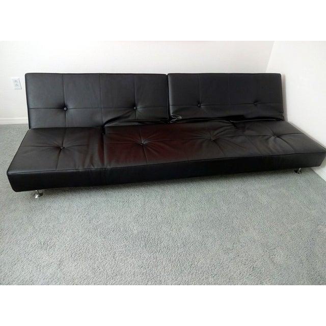 Edra Damier Italian Black Leather Sofa - Image 2 of 11
