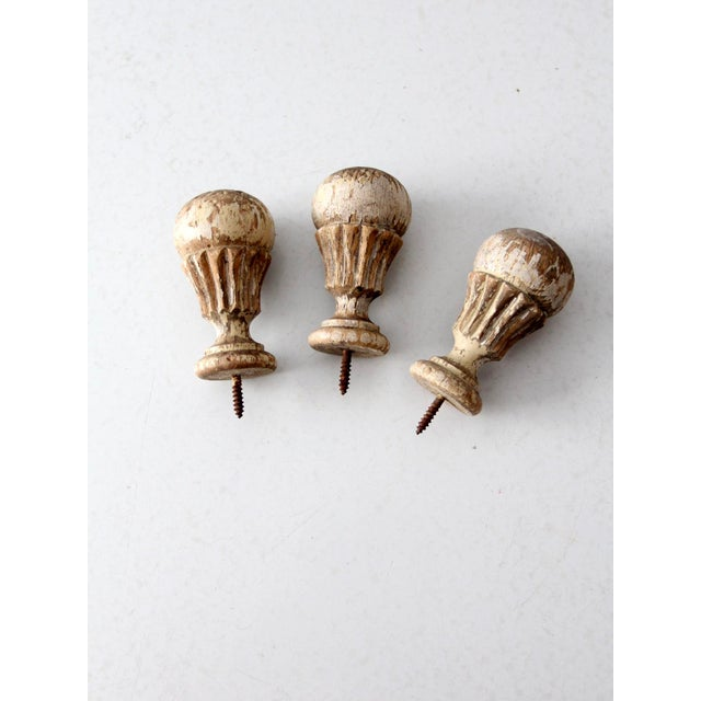 Antique White Wooden Finials - Set of 3 For Sale - Image 4 of 7