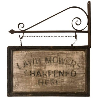 Distressed Vintage Folk Art Sign For Sale