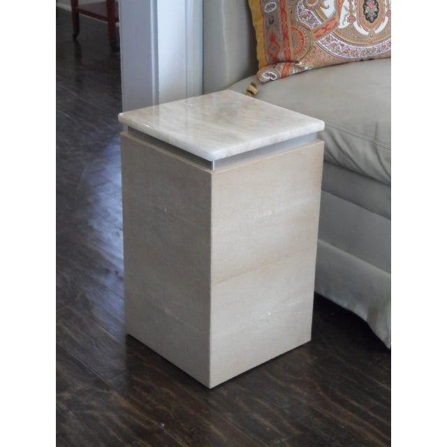 Art Deco Sherry Garrett Honey Onyx Top Shagreen Accent Tables - A Pair For Sale - Image 3 of 8