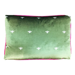 "Napoleonic Bee in Olive Velvet 14"" x 20"" Lumbar Pillow For Sale"